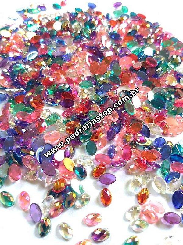 Pedra oval cristalina mix de cores 4x6 - 30 unidades
