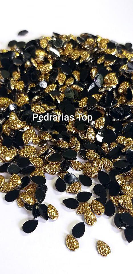 Pedra açucarada gota dourada 4x6 - Aprox. 30 pcs