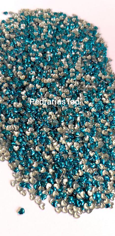 Chapinha coração azul 3mm - Aprox. 100 unidades