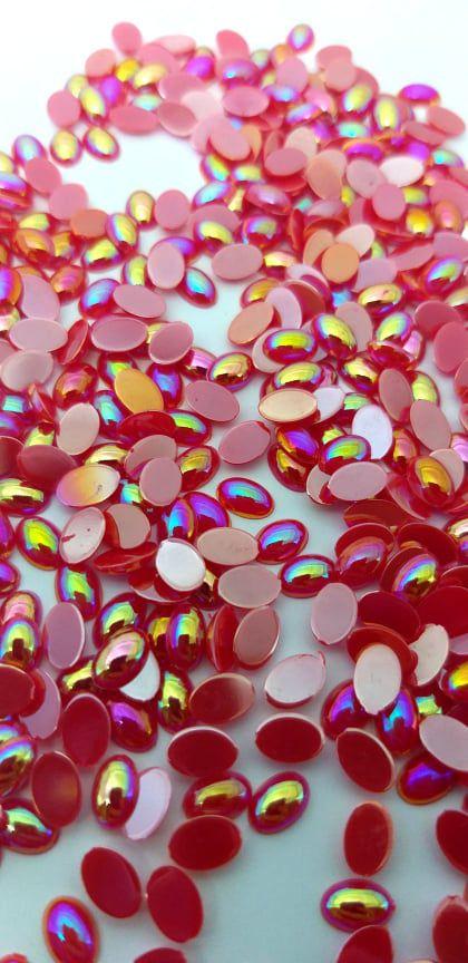 chaton oval boreal vermelho 4x6 c/ 30 pcs