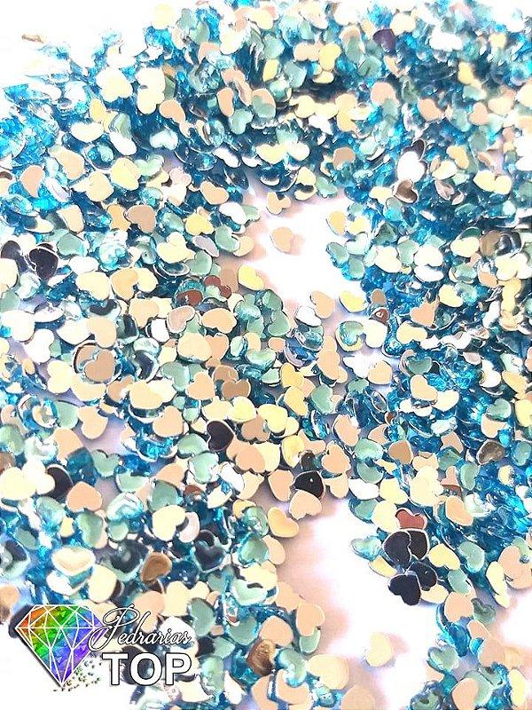 Coração azul claro 2,5mm - Aprox. 100 pcs