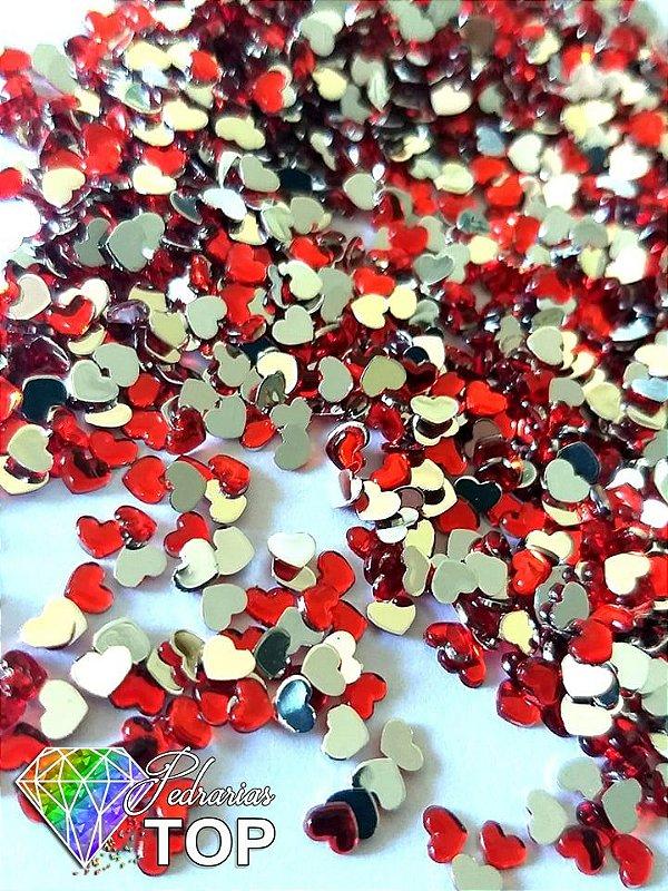 Coração vermelho 2,5mm - Aprox. 100 pcs