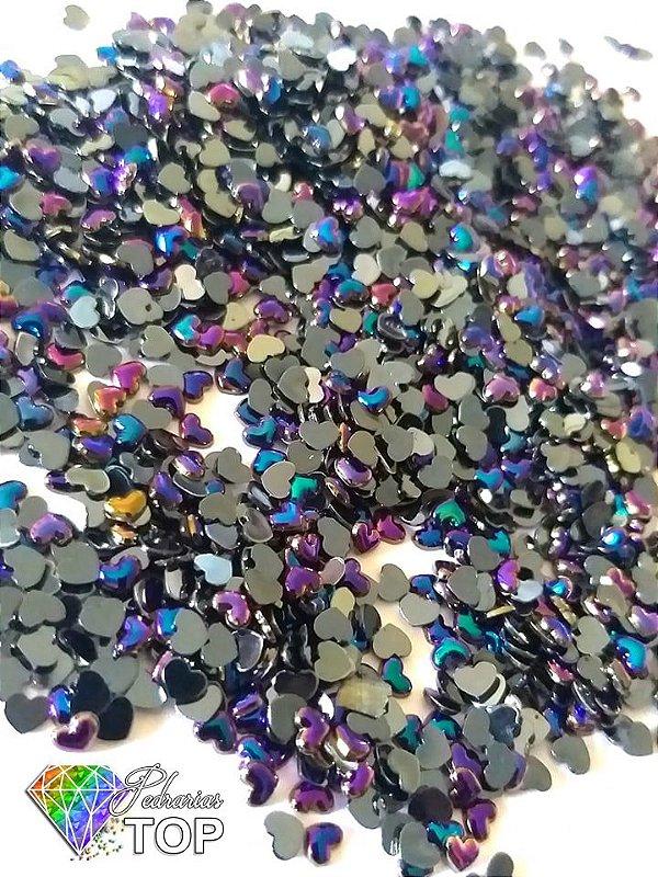 Coração preto furta cor 2,5mm - Aprox. 100 pcs