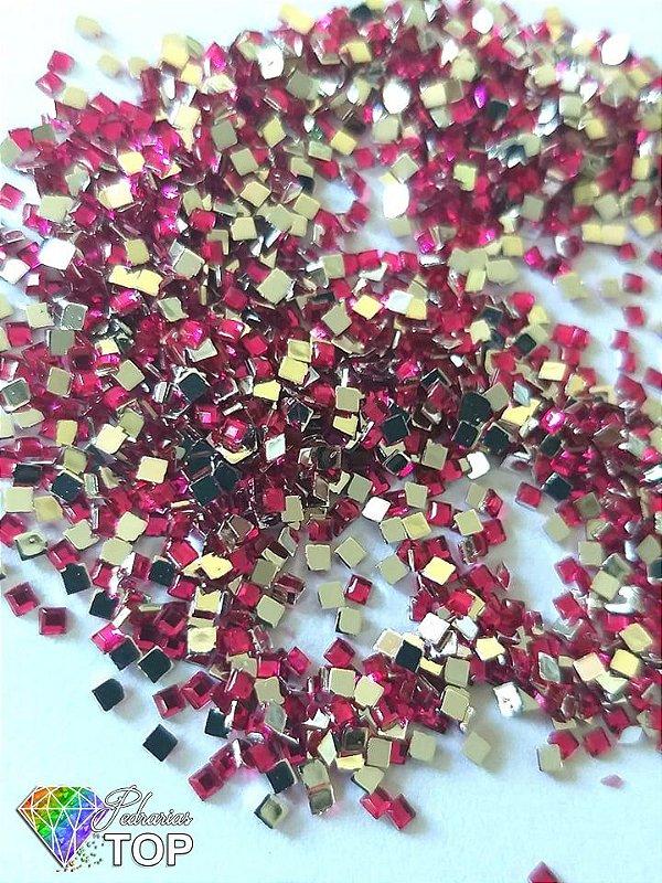 Quadradinho rosa pink 2mm - Aprox. 100 pcs