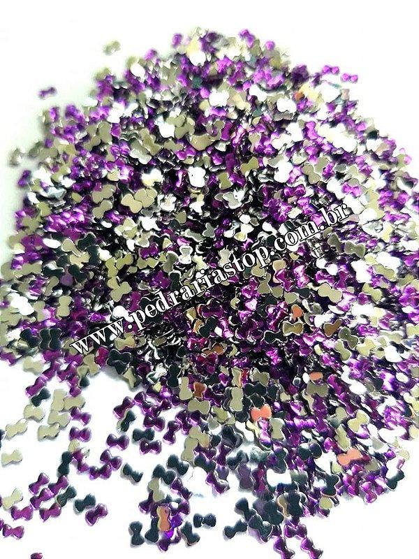 Lacinho para decoração de unhas roxo - Aprox. 100 pcs