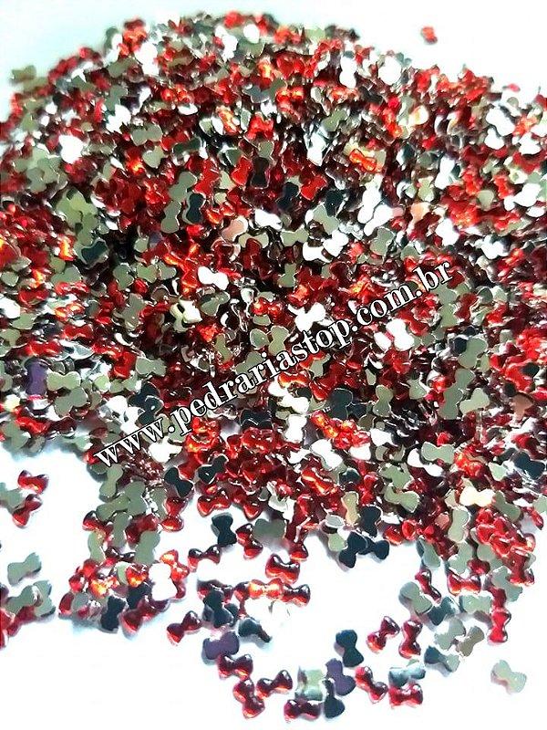 Lacinho para decoração de unhas vermelho - Aprox. 100 pcs