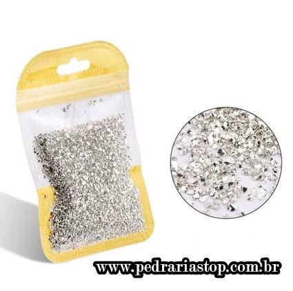 Pixel preciosa para decoração de unhas prata c/ aprox. 3 gramas