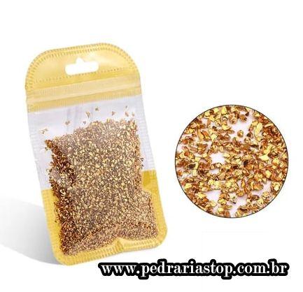 Pixel preciosa para decoração de unhas dourado c/ aprox. 3 gramas
