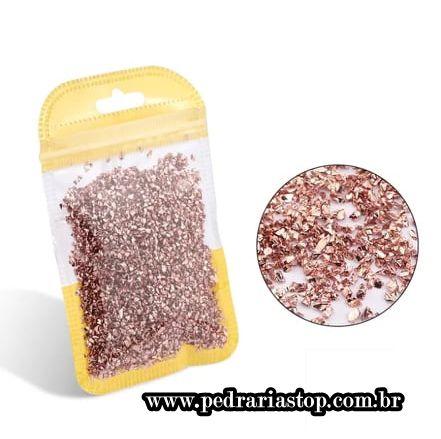 Pixel preciosa para decoração de unhas rosê c/ aprox. 3 gramas