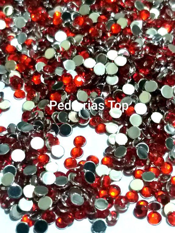Chaton sextavado vermelho 3mm - Aprox. 50 pcs