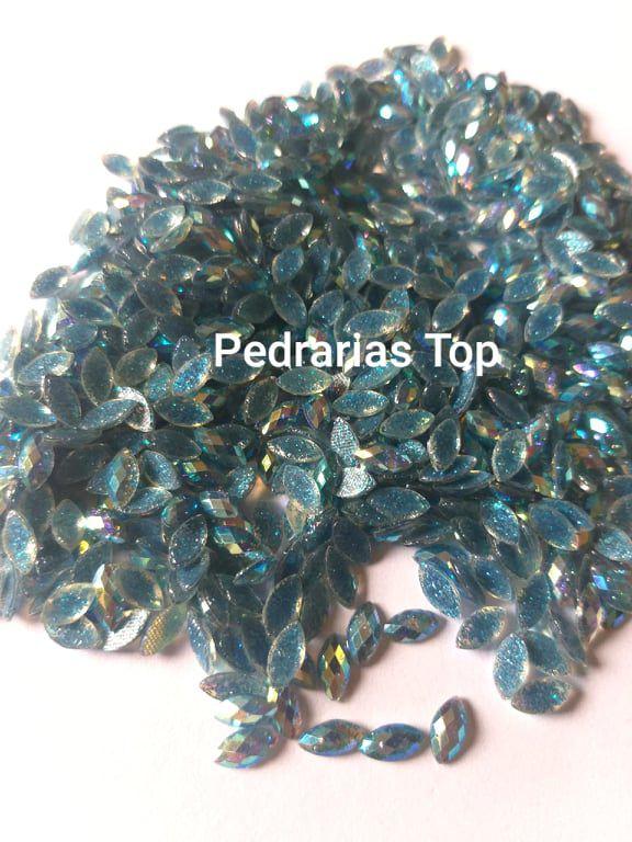Navete glittler azul escuro ab aprox.  4x8 c/ 50 pcs