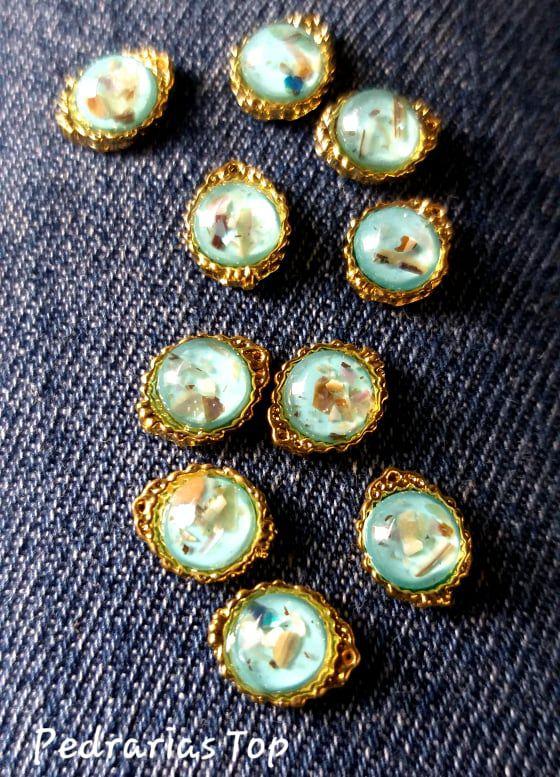 Jóias de luxo para unha c/2 pcs - Redondo azul