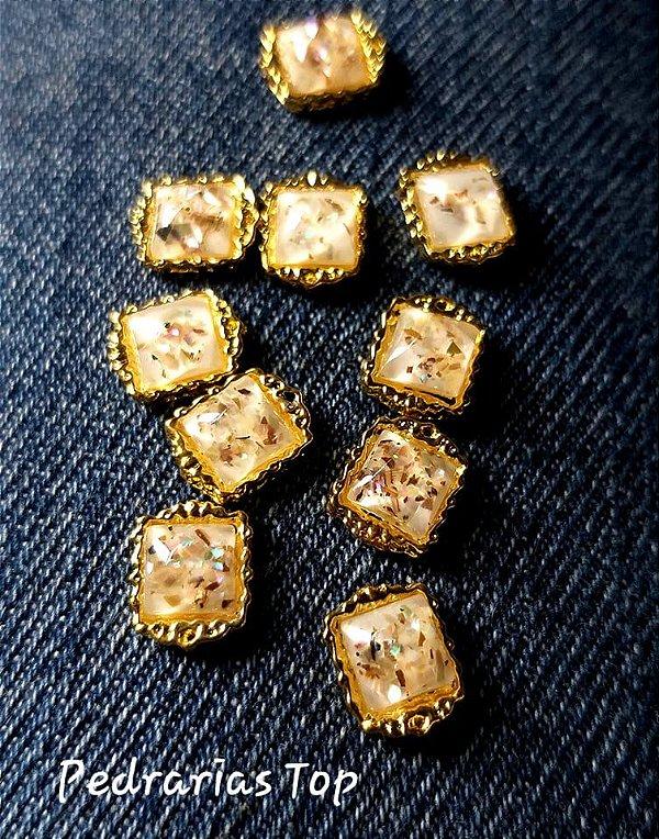 Jóias de luxo para unha c/2 pcs - quadrado marfim