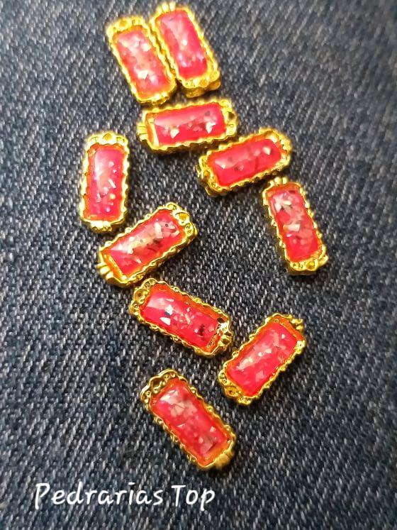 Jóias de luxo para unha c/2 pcs - Retângulo vermelho