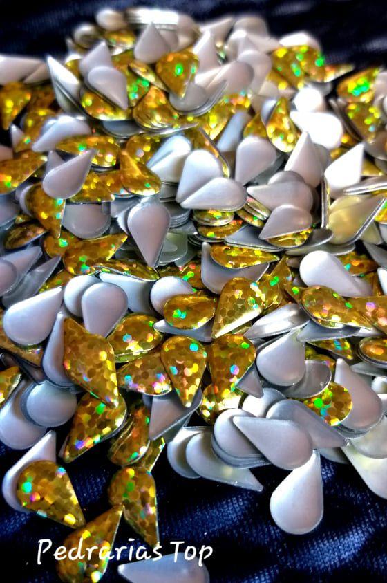 Gota holográfica dourada 4x6 c/ 100 pçs