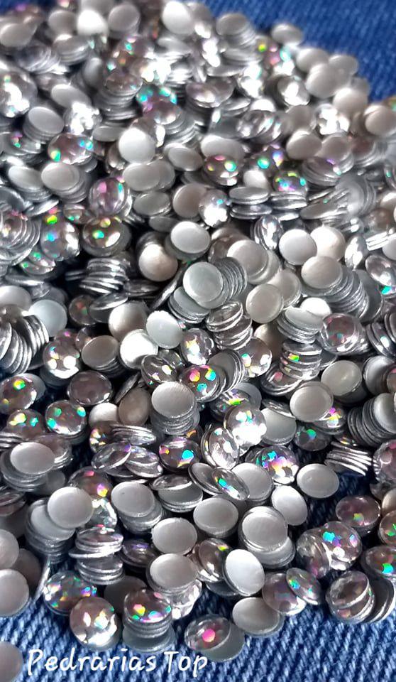 Chapinha holográfica prata 4mm - 200 unidades
