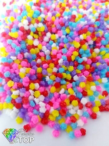 Rosa 3d mix de cores 3mm - 50 unidades