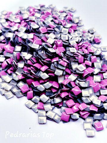 Chapinha quadradav rosa 3mm - Aprox 100 pçs