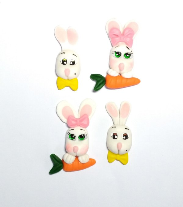 Apliques Coelhinhos de Biscuit para Laços
