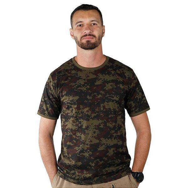 Camiseta Masculina Camuflada Digital Argila Bélica