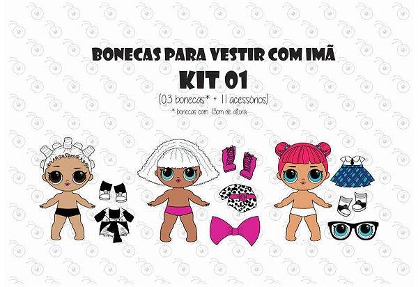 Kit 01 para Vestir com imãs - Bonecas LOL
