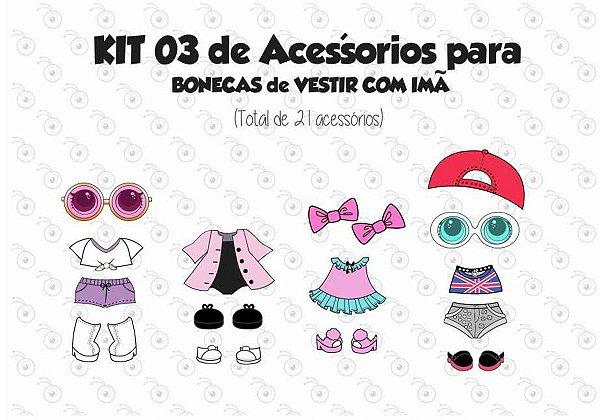 Kit 03 de Acessórios para Vestir com imãs - Bonecas LOL