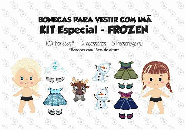 Kit Bonecas para Vestir com Imãs - Especial FROZEN