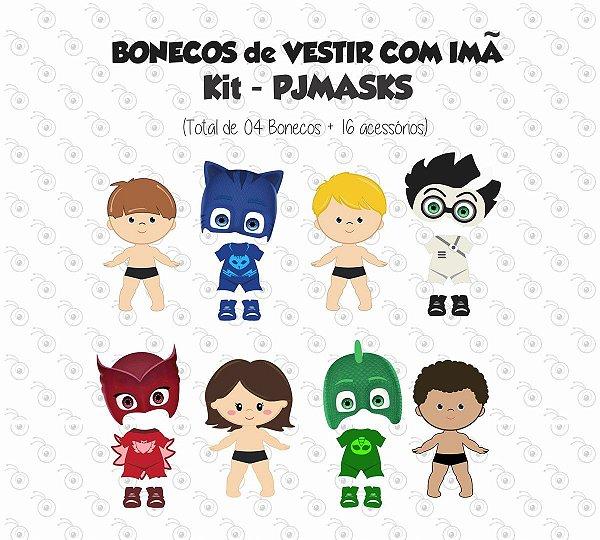 Kit Bonecos para Vestir com Imãs - PJ Masks
