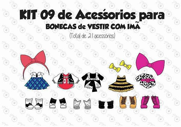 Kit 09 de Acessórios para Vestir com imãs - Bonecas LOL