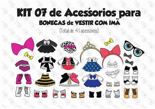 Kit 07 de Acessórios para Vestir com imãs - Bonecas LOL