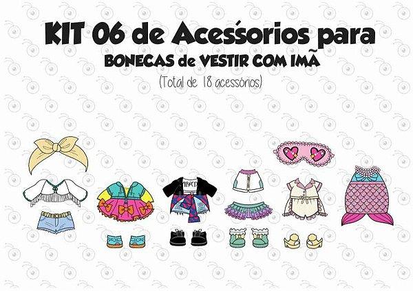 Kit 06 de Acessórios para Vestir com imãs - Bonecas LOL