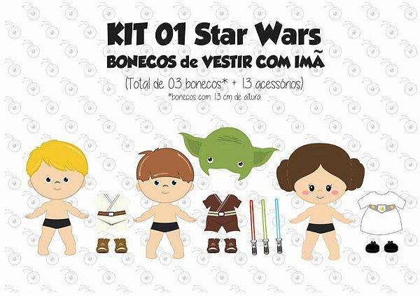 Kit 01 Bonecos para Vestir com imãs - Especial STAR WARS