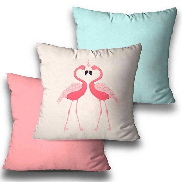 kit 3 almofadas flamingo rosa