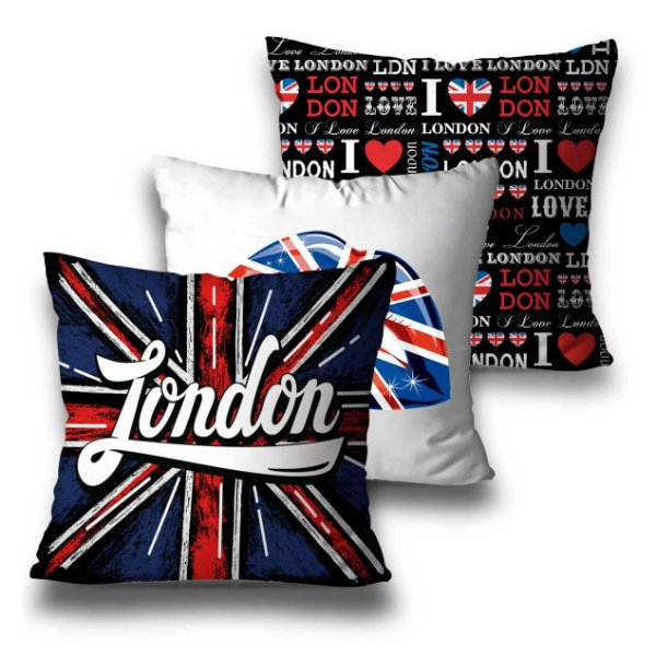 kit 3 almofadas london divertida