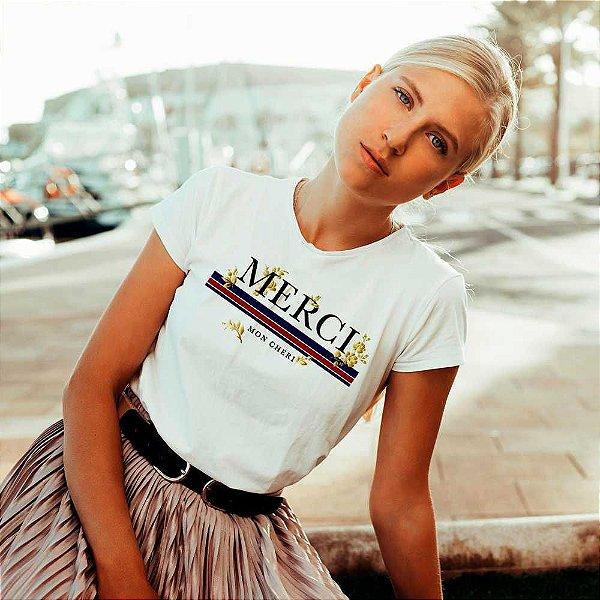 Camiseta T-shirt Feminina merci