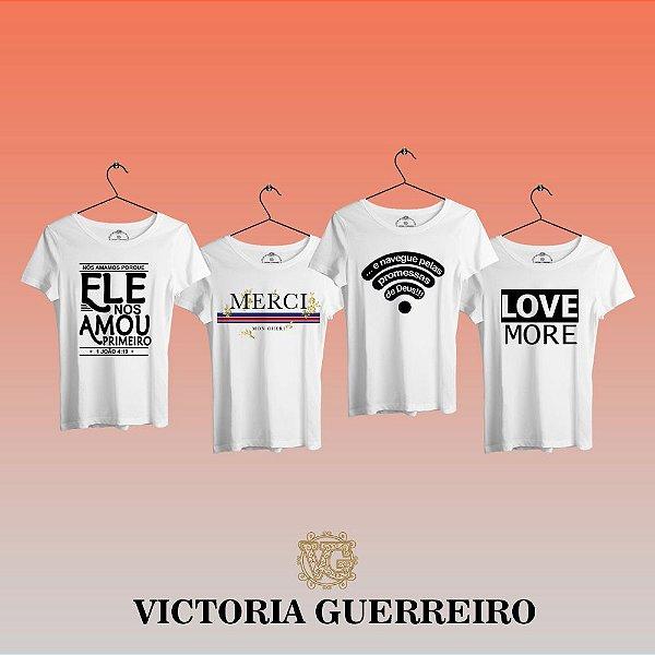 Kit 4 Camiseta T-shirt Feminina Vc Vip