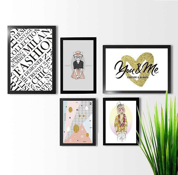 Kit 5 quadros decorativos Bicho Fashion