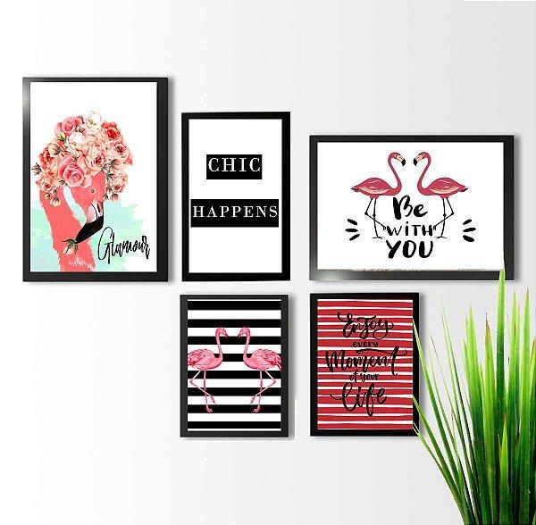 Kit 5 quadros decorativos Flamingos