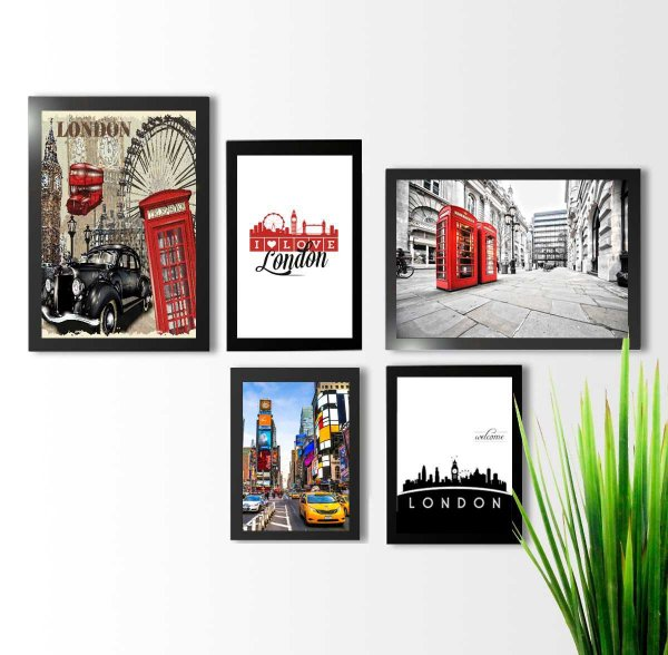 Kit 5 quadros decorativos Londres