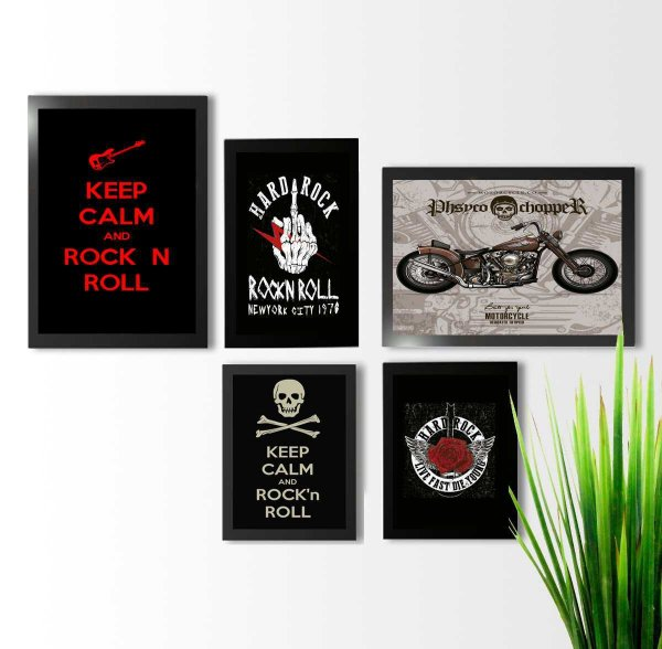 Kit 5 quadros decorativos Rock and Roll