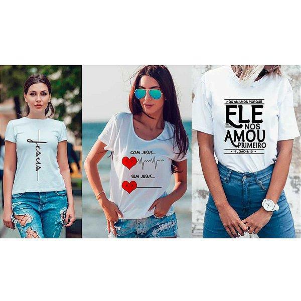Kit 3 camisetas T-shirt  feminina Benção
