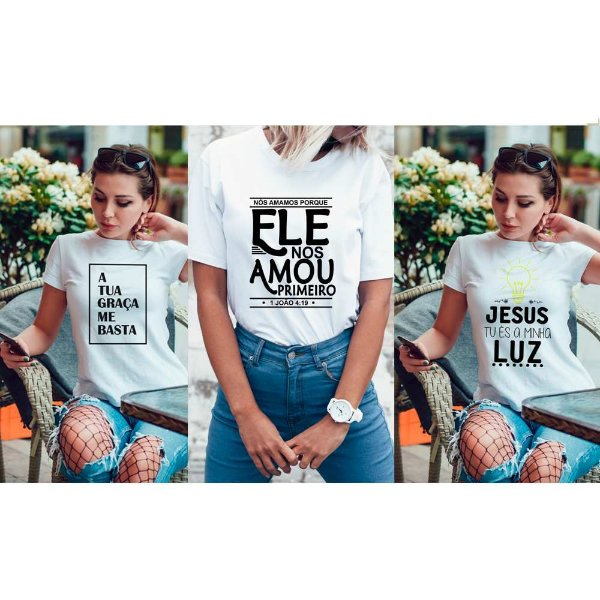 Kit 3 camisetas T-shirt  feminina Gospel