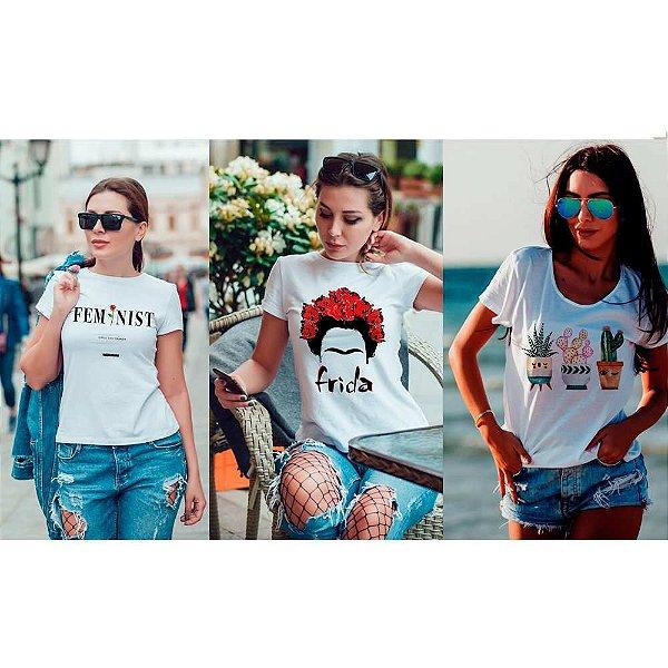 Kit 3 camisetas T-shirt  feminina Feminist