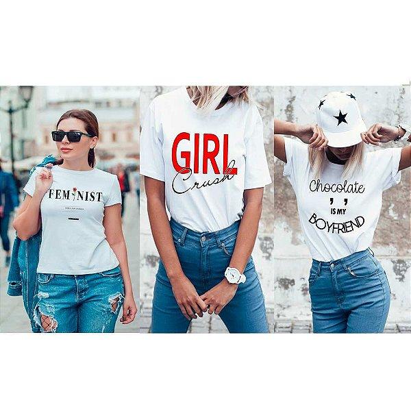 Kit 3 camisetas T-shirt  feminina Girl