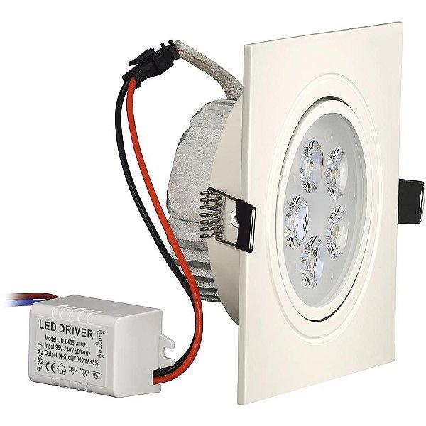 Kit 10 Spot Dicroica LED Embutir Quadrado 5w Gesso Sanca Branco Frio 6000k