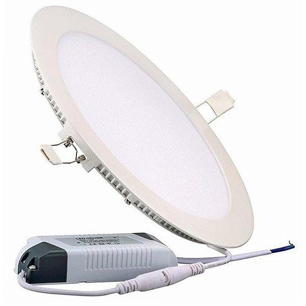 Kit 10 Plafon LED Luminária Redondo Embutir 25w 30x30 Branco Quente 3000k
