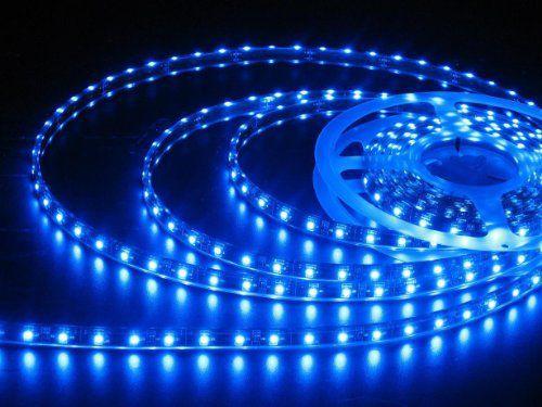 Fita LED 3528 Azul Siliconada Prova D'água 5 Metros + Fonte