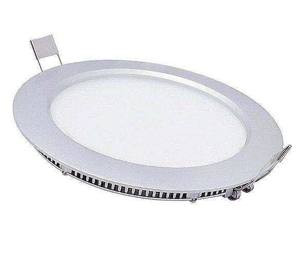 Luminária Plafon Led Redondo Embutir 12w Branco Quente