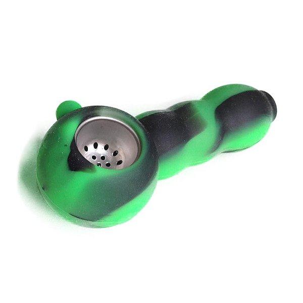 Pipe de Silicone Buble Preto e Verde