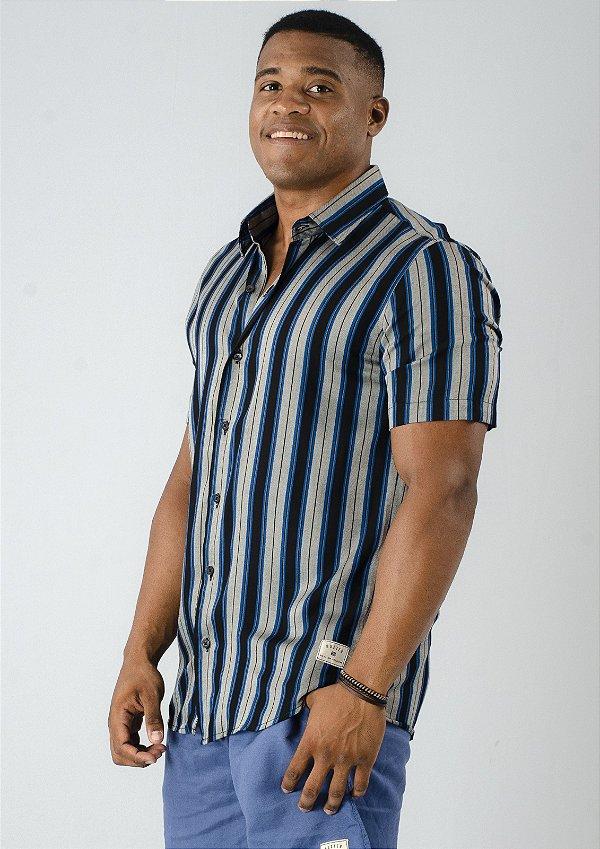 Camisa de Botão Mono Listrada